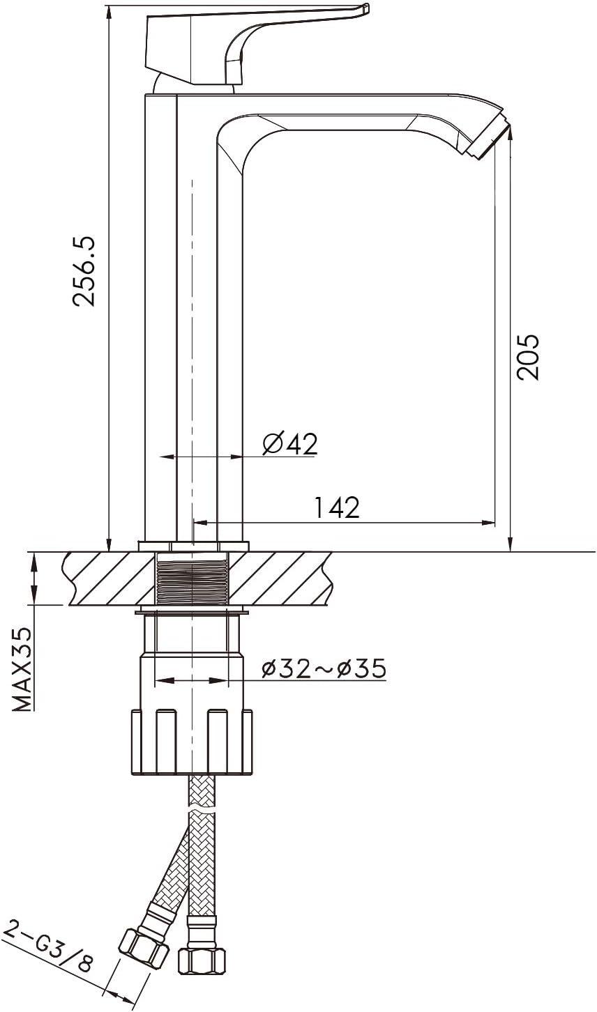 Chrom Waschtischarmatur Mischbatterie f/ür K/üche Sp/ülbecken aus 59 Messing amzdeal Wasserhahn 275mm Hoher Auslauf Sp/ülarmatur 360/° drehbar K/üchenarmatur