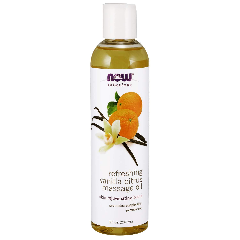 NOW Solutions, Refreshing Vanilla Citrus Massage Oil, Skin Rejuveating Blend, Supple Skin, 8-Ounce