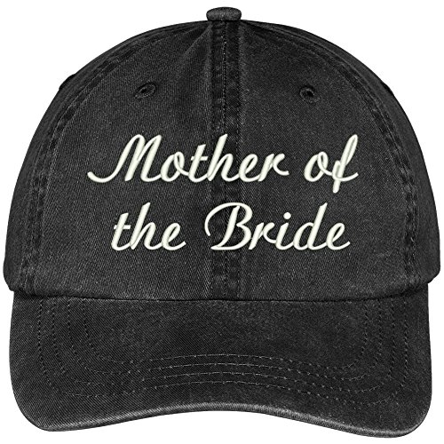 Trendy Apparel Shop Mother Of The Bride Embroidered Wedding Party Pigment Dyed Cotton Cap - Black ()