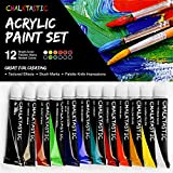 Office Products : Quality Acrylic Paints - Best Acrylic Paint Set For Painting Canvas, Wood, Fabric, Clay, Ceramics, Glass, Nail Art & Crafts 12X12ml Carefully Selected Colors – Great For Beginners, to Hobby Painters