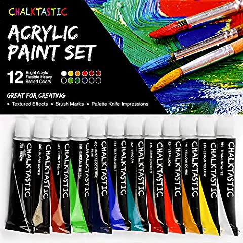 Quality Acrylic Paints - Best Acrylic Paint Set For Painting Canvas, Wood, Fabric, Clay, Ceramics, Glass, Nail Art & Crafts 12X12ml Carefully Selected Colors – Great For Beginners, to Hobby (Acrylic Paint Beginner)