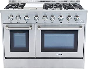 """Thor kitchen 48"""" Freestanding Professional Style Dual Fuel Range 6.7 cu. ft. Electric Oven 6 NP/LP Burners S tainless SteelHRD4803U (HRD4803U-NP)"""