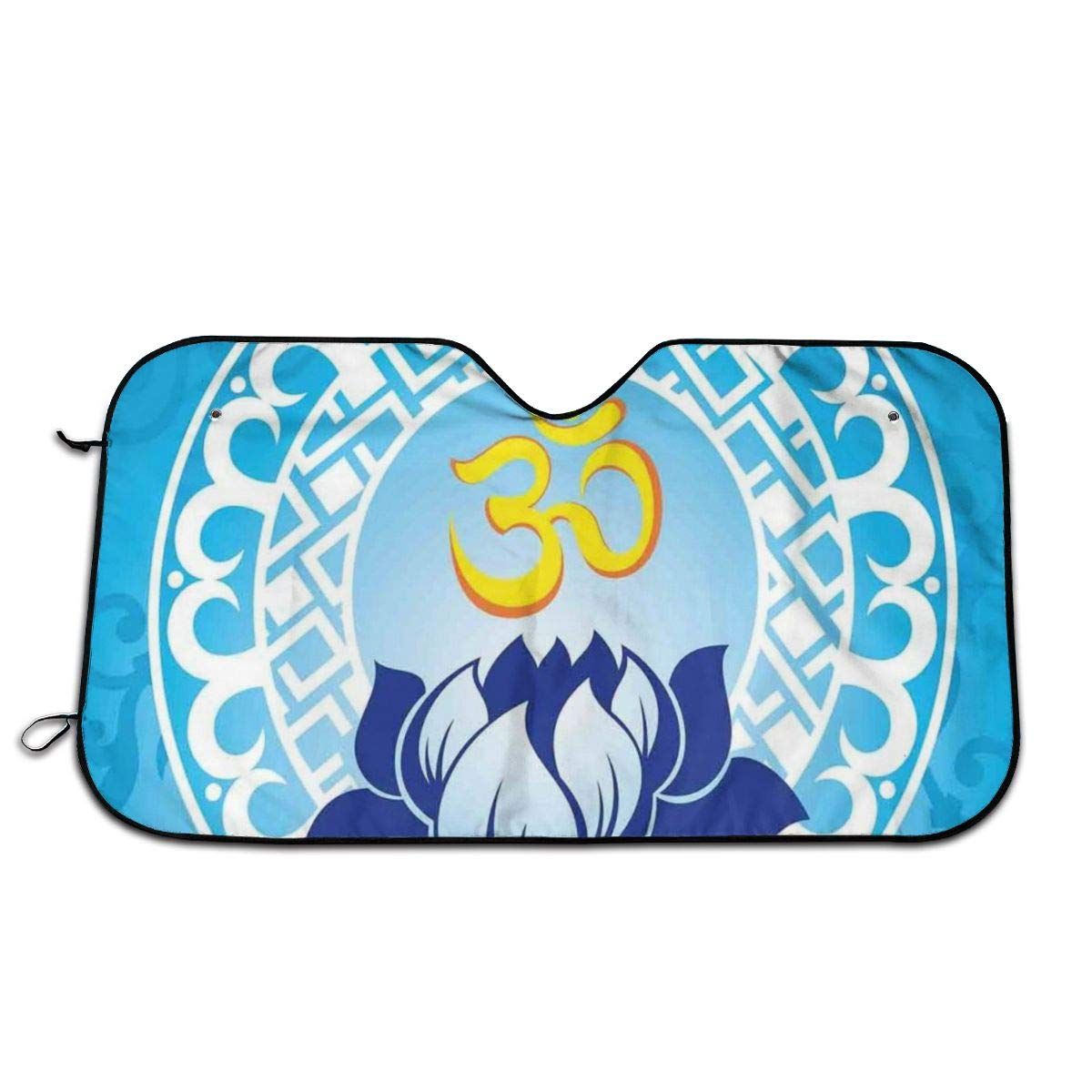 Windshield Sunshade for Car,Eastern Spiritual Design with Lotus Flower Petal Mystical Powers of Nature Print,Front Window Sun Shade Visor Shield Cover(27.5 x 51)