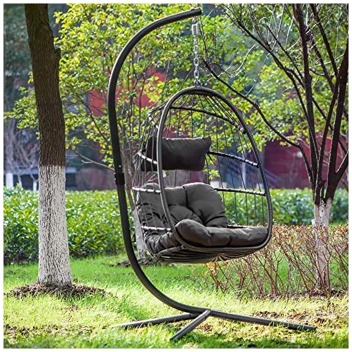 Egg Chair Aluminum Frame Swing Chair In Door Outdoor Hanging Egg Chair Patio Wicker Hanging Chair Hammock Chair With Stand And Uv Resistant Cushion 350 Pound Weight Capacity Dark Grey Beachfront Decor