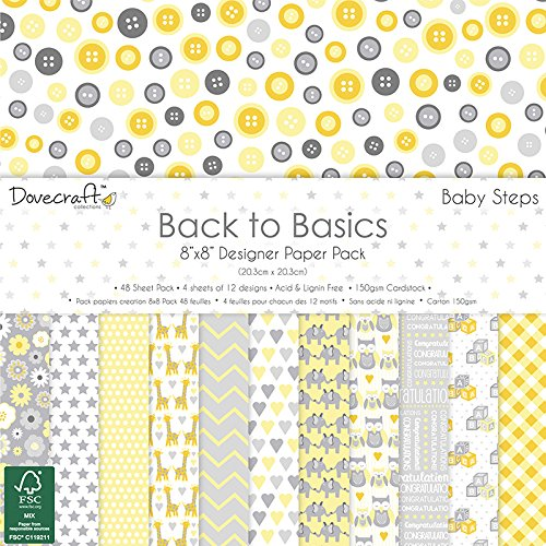 Dovecraft Back to Basics Baby Steps – Carta Craft Paper Pad 20, 3 x 20, 3 cm (150GSM) Trimcraft