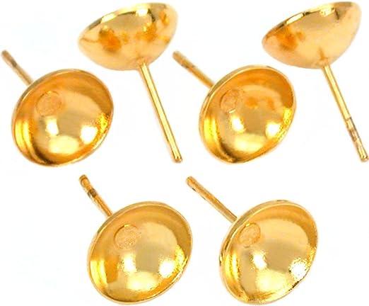 Arete 8mm aretes Studs pendiente aproximadamente plana de acero inoxidable con dorado-Color