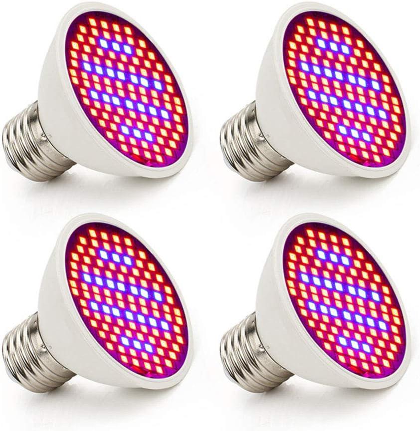 4pcs 106Leds 220V LED Lámpara de crecimiento, Espectro completo LED Crecimiento vegetal E27 Bombillas Plantas de iluminación interior Vegs Sistema hidropónico Grow Box