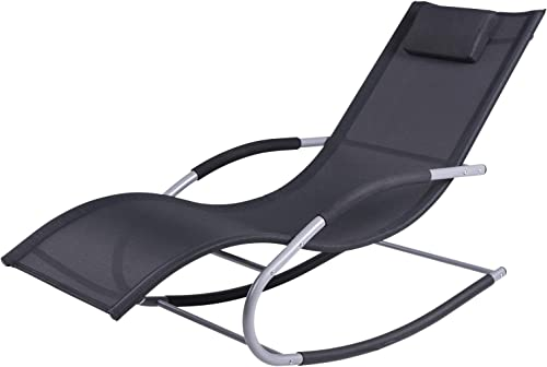 Outsunny Chaise Rocker Patio Lounge Chairs with Recliner w Detachable Pillow Durable Weather-Fighting Fabric, Black