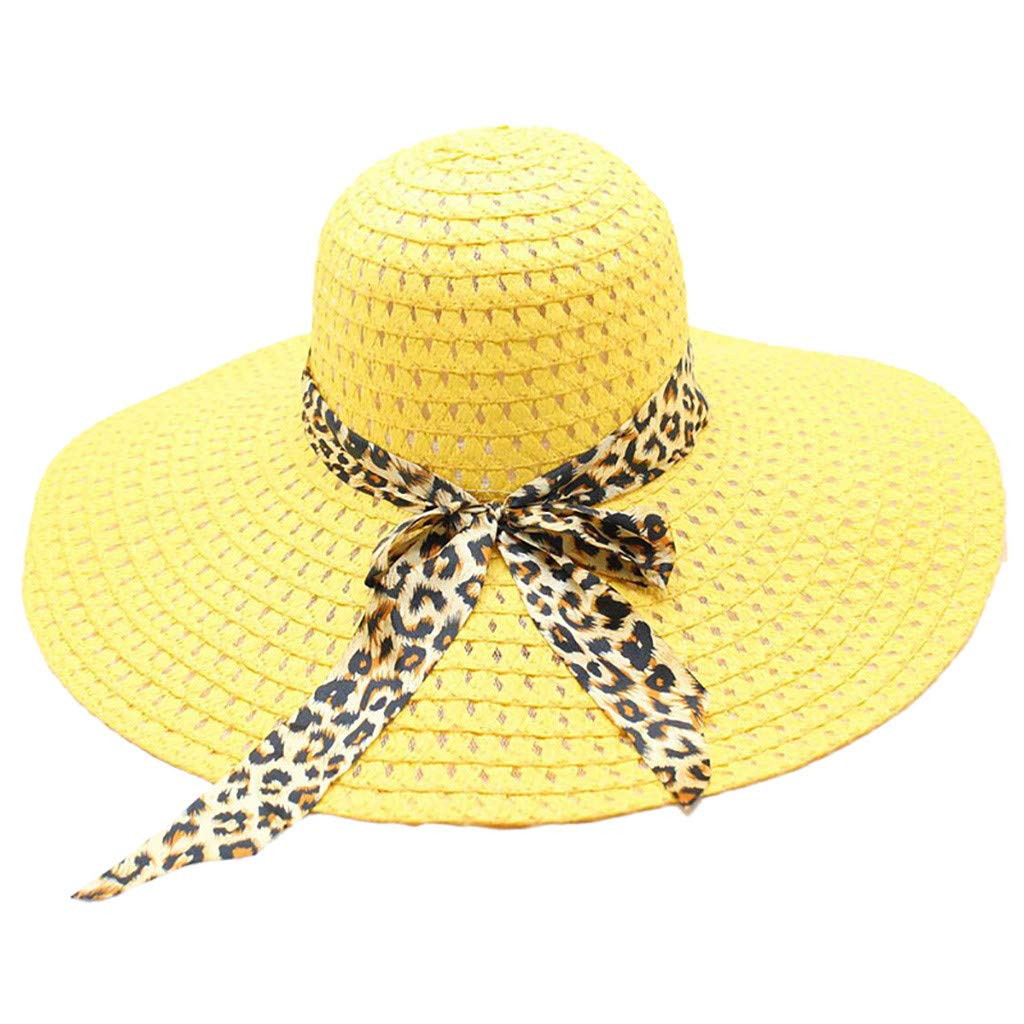 WUAI Womens Wide Brim Straw Hats Leopard Print Sun hat Folding Travel Beach Cap(Yellow,Free size)
