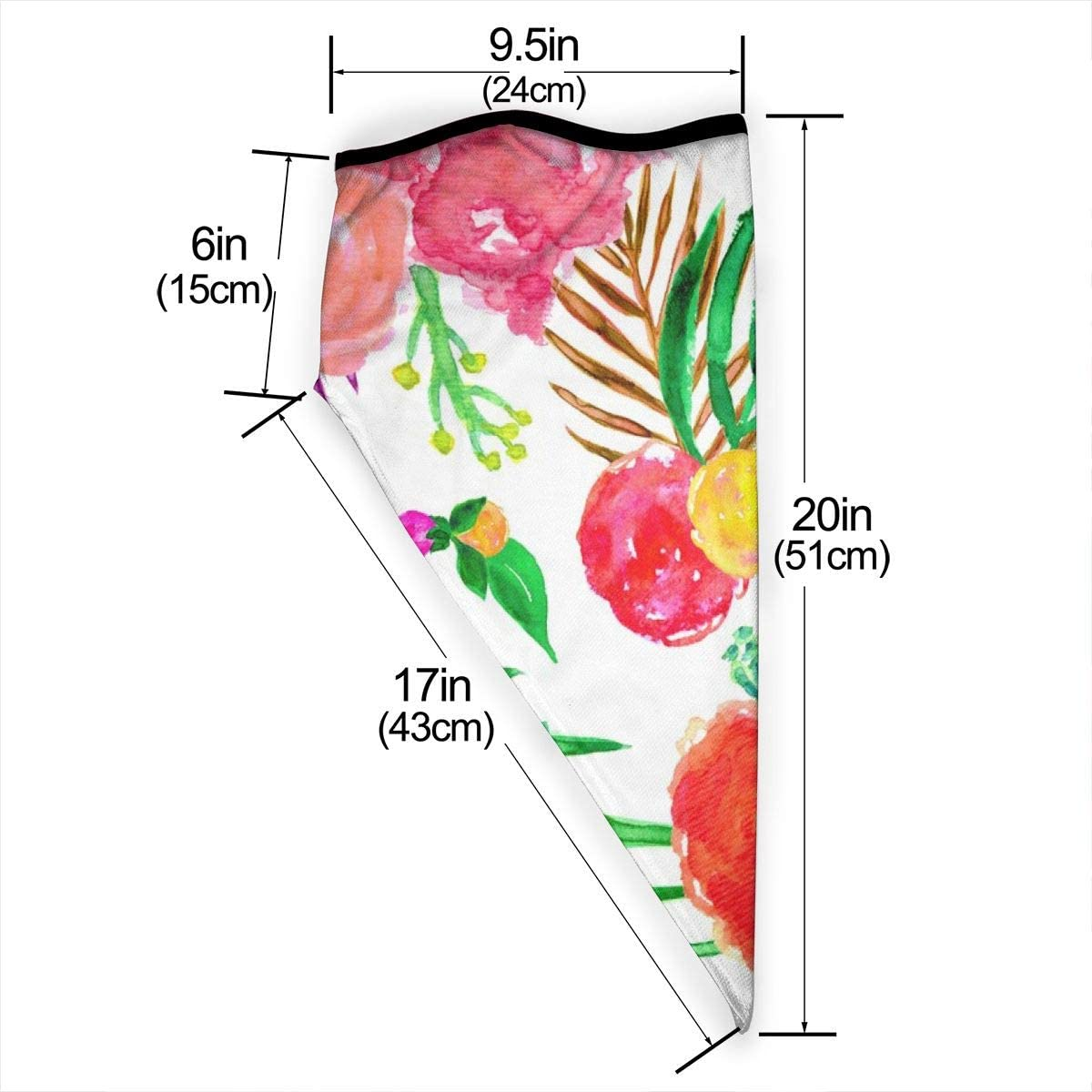 Wind-Resistant Face Mask/& Neck Gaiter,Balaclava Ski Masks,Breathable Tactical Hood,Windproof Face Warmer for Running,Motorcycling,Hiking-Watercolor Tropical Palm Leaf Floral in White