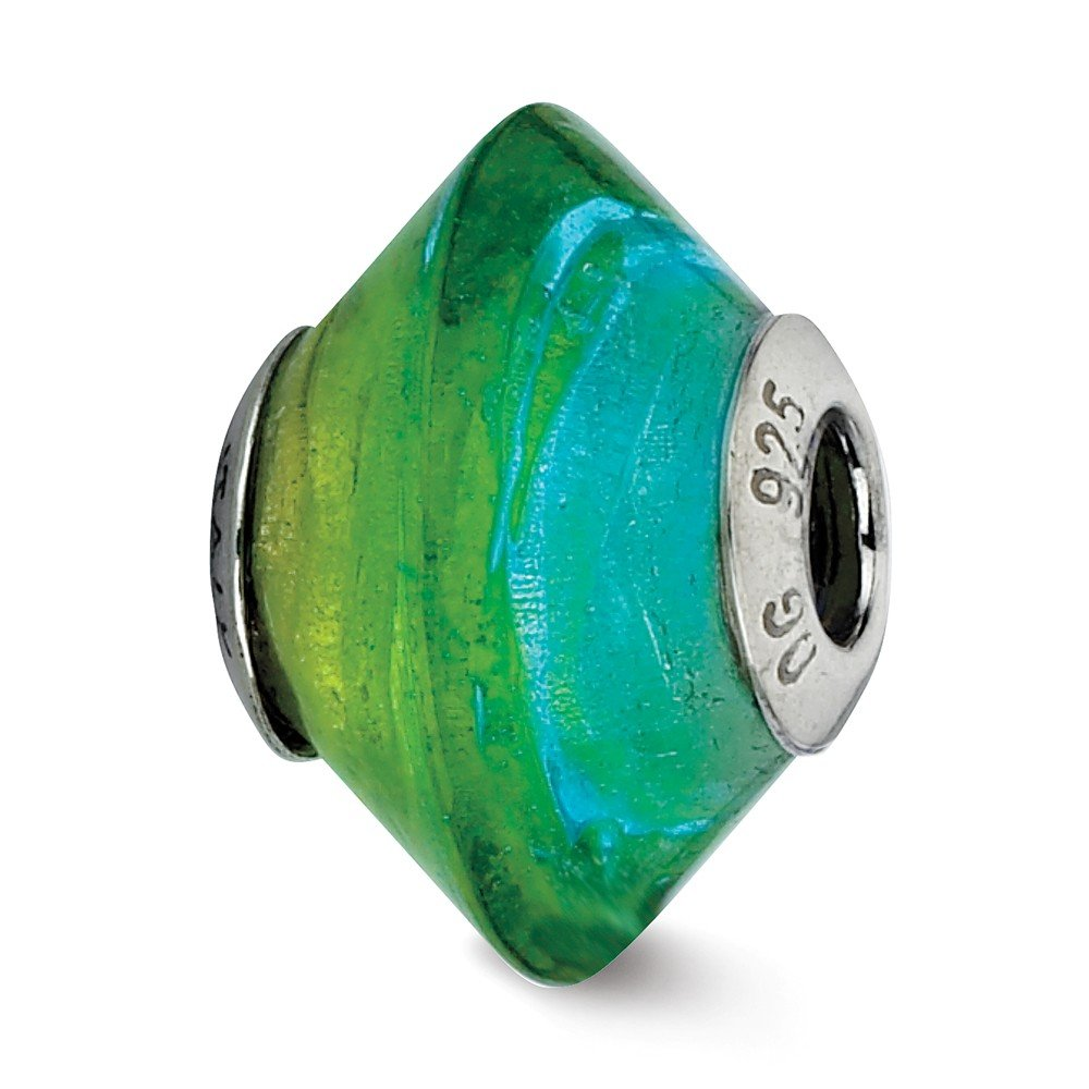 Jewel Tie 925 Sterling Silver Reflections Blue /& Green Italian Murano Glass Bead 10.9mm x 14.6mm