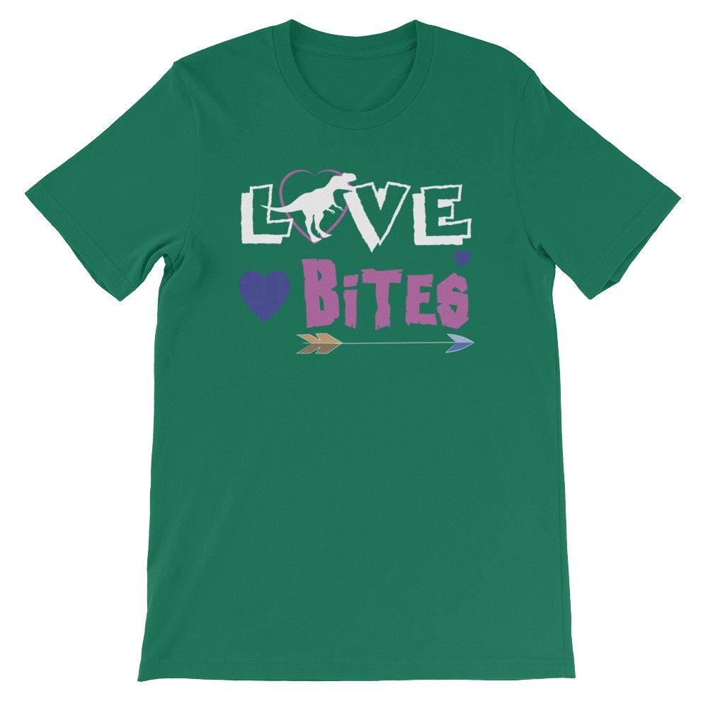edgyshop Love Bites Valentines Day Dinosaur Funny Premium Unisex T-Shirt
