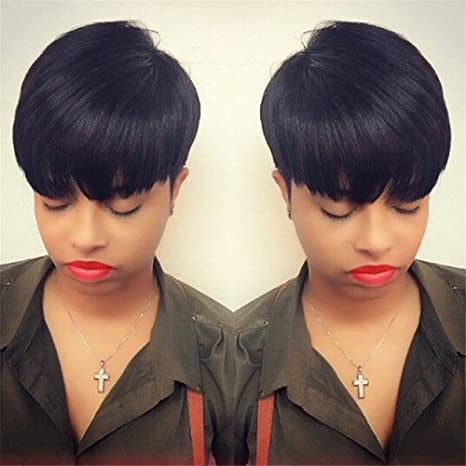 Amazon Com Afro Fluffy Short Bob Pixie Cut Straight Hair Wigs For