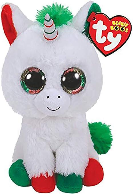 Ty Peluche, ty36222, Bianca Unicorno Pegaso Candy Cane Natale
