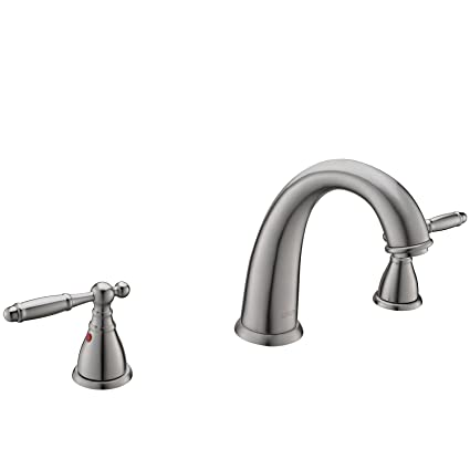 KINGO HOME Commercial Solid Brass Lavatory Three Holes Two Handle Lever  Widespread Brushed Nickel Bathroom Faucet