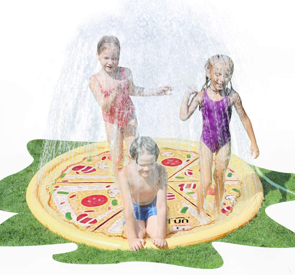 AirMyFun Pizza Sprinkle & Splash Play Mat, Fun Outdoor Party Sprinkler Toy for Kids, Splash Pad Sprinkler for Toddlers Playing Water, Sprinkler Pad with Food Theme