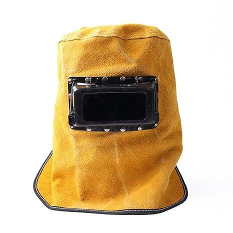 LINGJUN Casco de Soldadura de Cuero con Pantalla Transparente para Trabajo Seguridad de Cara Ojos (
