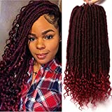 7 Packs Faux Locs Crochet Hair With Curly Ends 16 Inch Dreadlocs Goddess Locs Crochet Braids Synthetic Braiding Hair Extension (16 Inch, TBurgundy)