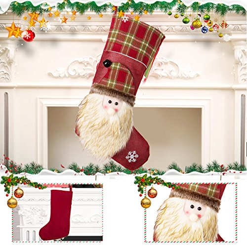 NONZERS Lovely Christmas Stockings-Classic Christmas Stockings,3 Pcs of Xmas Gift Candy Bag,Santa Snowman Reindeer Toys Stockings,3D Applique Style Christmas Stockings Decoration for Kids (17.7Lx7.5W) by NONZERS (Image #2)