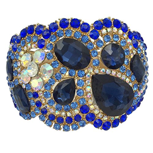 Bold Cuff Bracelet (Large Statement Rhinestone Wide Hinged Gold Tone Bangle Bracelet - Assorted Colors (Blue Tones))