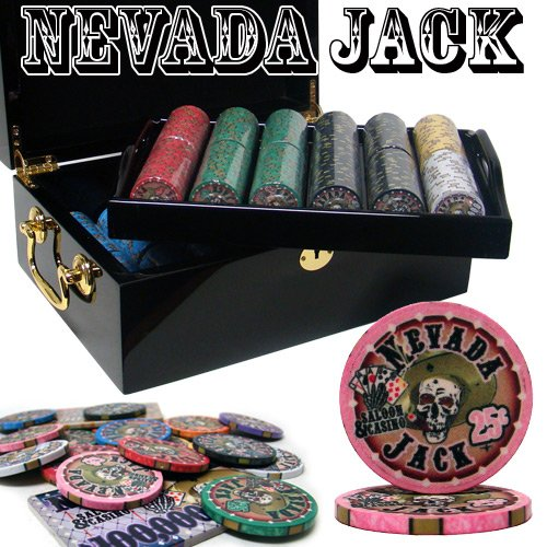 500 Ct Nevada Jack 10 Gram Ceramic Poker Chip Set w/ Black Mahogany Wooden Case by Brybelly