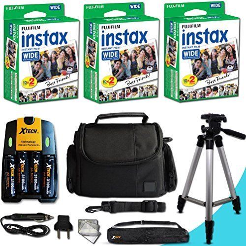 Xtech FujiFilm Instax Accessories Kit for Fujifilm Instax 300 WIDE includes: 60 Instax WIDE Film + 4AA Batteries (3100mAH) + AC/DC Quick Charger + Custom Fitted Case + Full Size 60' inch Tripod + MORE by Xtech