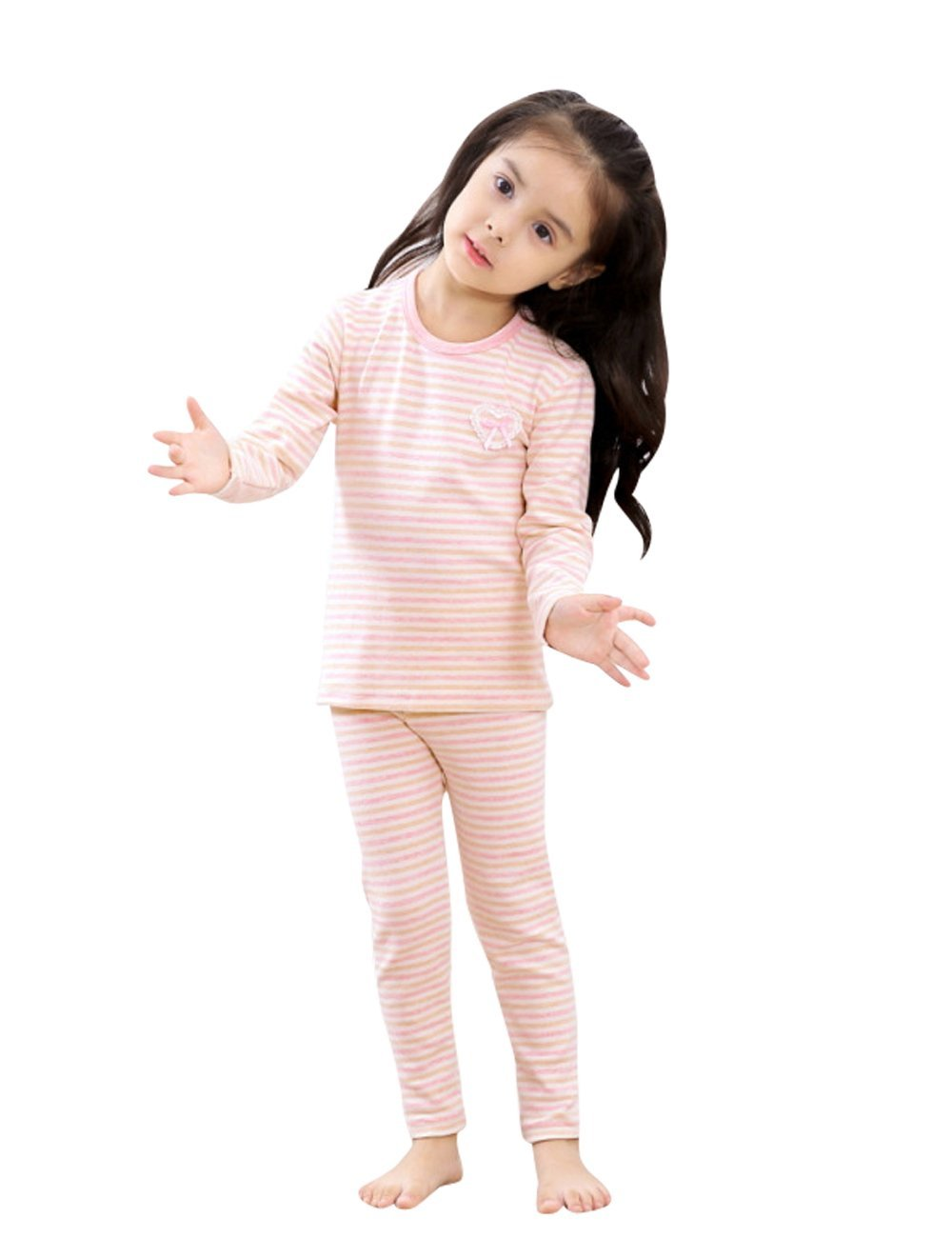Menschwear Girl's Soft Thermal Underwear Set Long Top and Bottom (120CM,Pink)