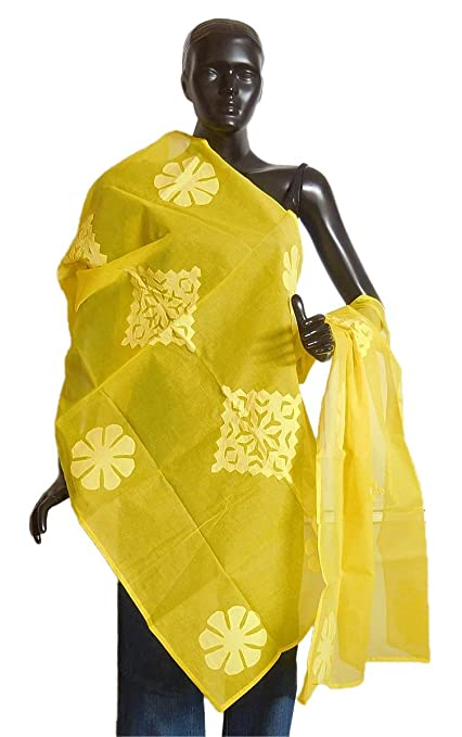 DollsofIndia Bright Yellow Organdy Cotton Chunni with Applique Work - Cotton - Magenta Ethnic Wear at amazon