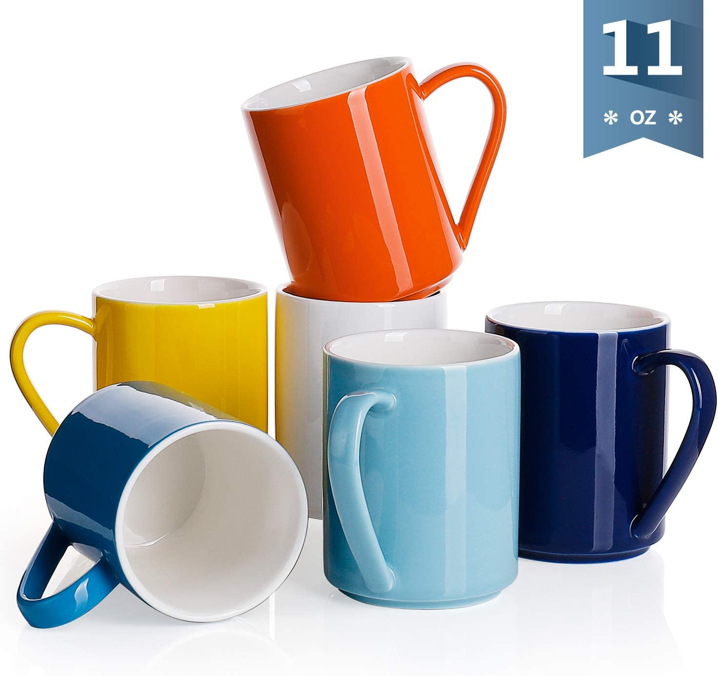 Sweese 603.002 Porcelain Coffee Mug Set - 11 Ounce for Coffee, Tea, Cocoa and Mulled Drinks - Set of 6, Hot Assorted Colors