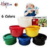 6 Colors Washable Finger Paint for Kid's Painting Artwork, Safe Kid's Paints for Drawing, Great Art Supplies for Kids Finger-paint Set, Non-Toxic Kids Paint set for School, Party, Children's Day