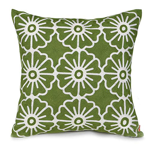 baibu Cotton Decor Cushion Cover Embroidery Design Floral Pillow Cover