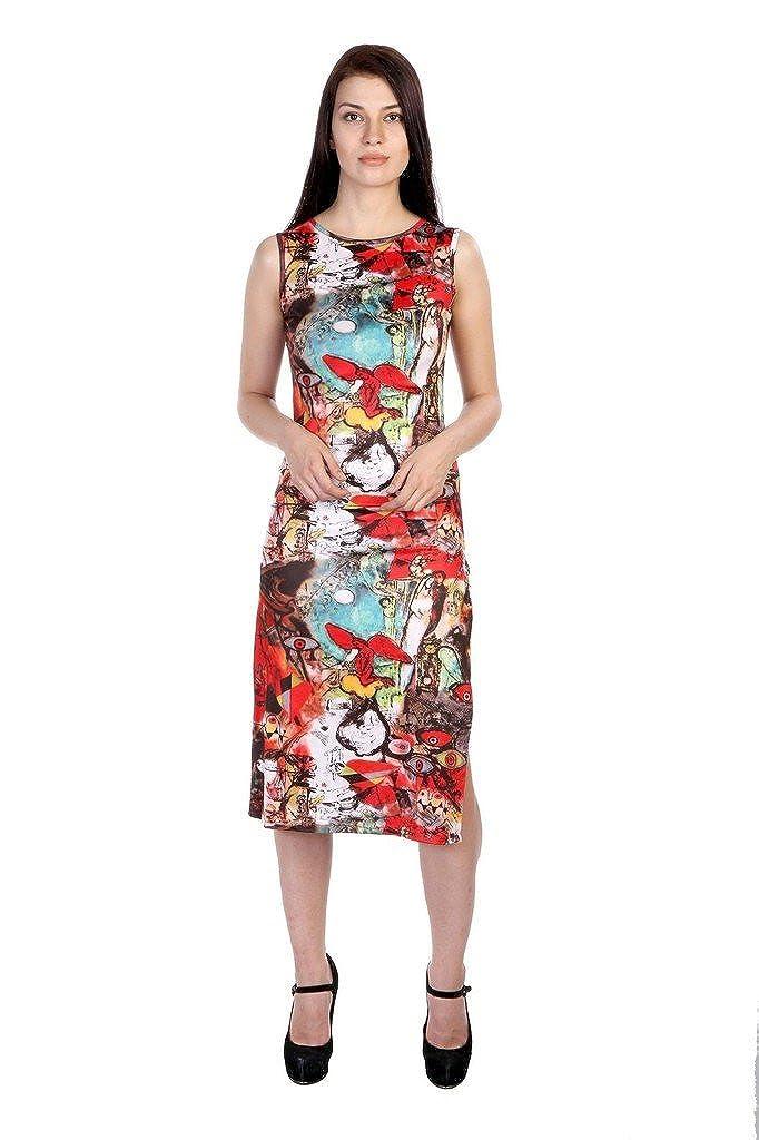 3968b742d3b JAMES SCOT-Women Boat Neck Sleeveless Geometric Print Multicolor Colour Midi  Dress  Amazon.in  Clothing   Accessories