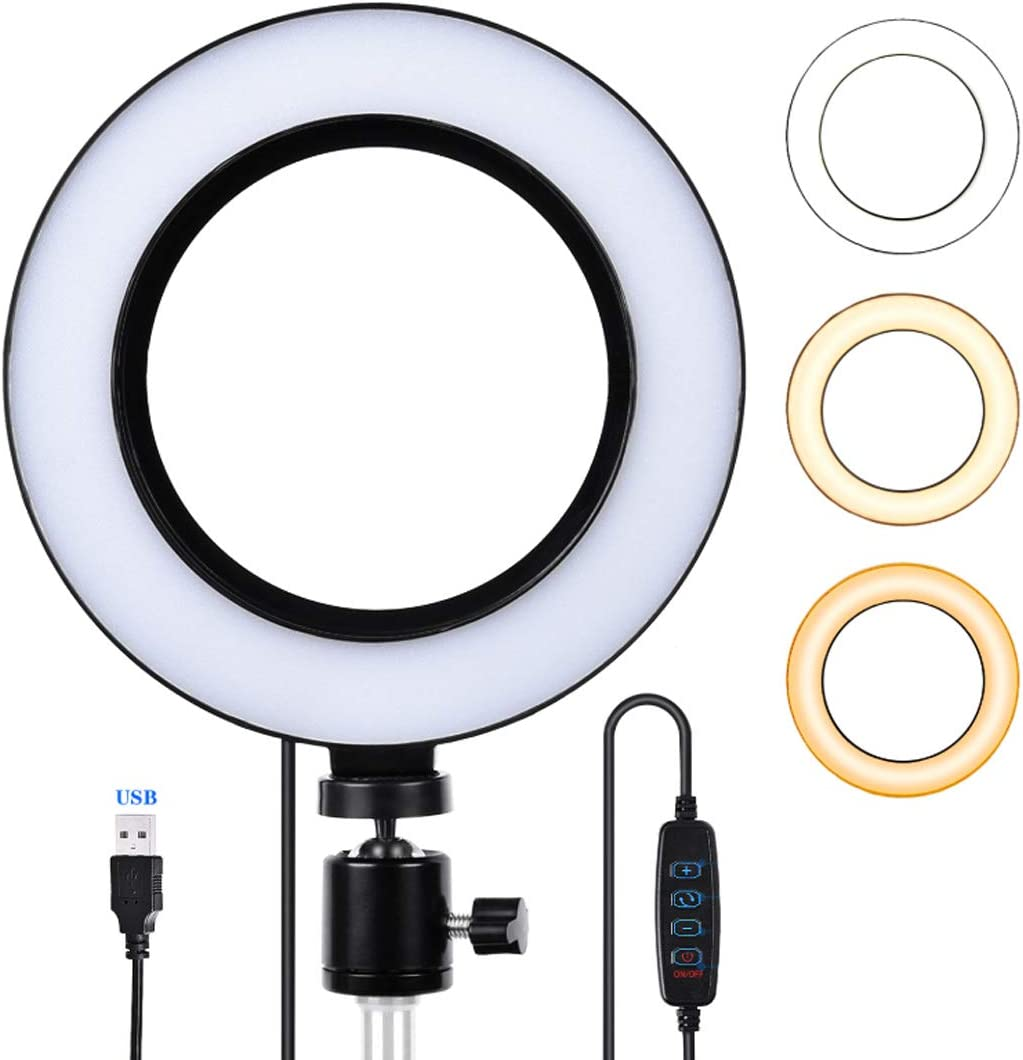 DLMPT 6 inch Selfie Ring Light Dimmable Adjustable Color Temperature and Brightness Ringlight Make Up Light for Photography Makeup Video Laptop YouTube