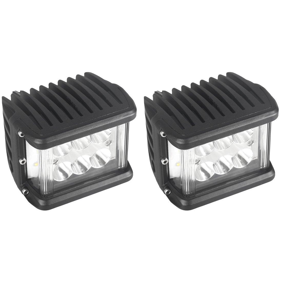LED Light Bar,4 90w Full Reflector Side Shooter Cube LED Work Light Spot Flood Combo Beam Driving Lamp for Off-road Truck UTV ATV SUV Boat Jeep
