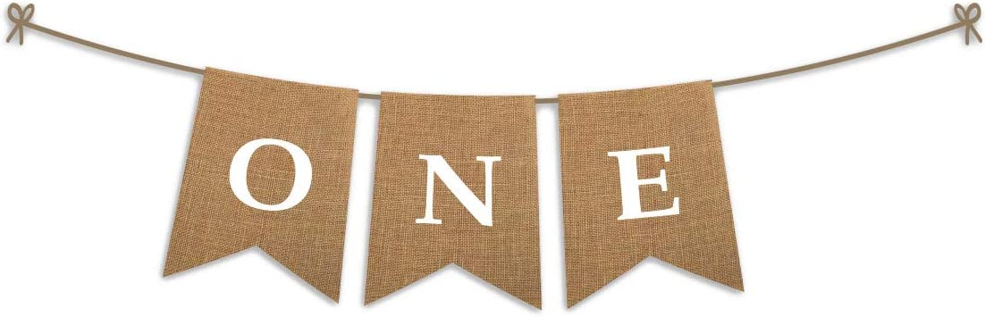 ONE High Chair First Birthday Burlap Banner | First Birthday Party Rustic Theme Decoration for boy or Girl | 1st Birthday Party Supplies | Happy Birthday Banner for Nursery Decor Product Name
