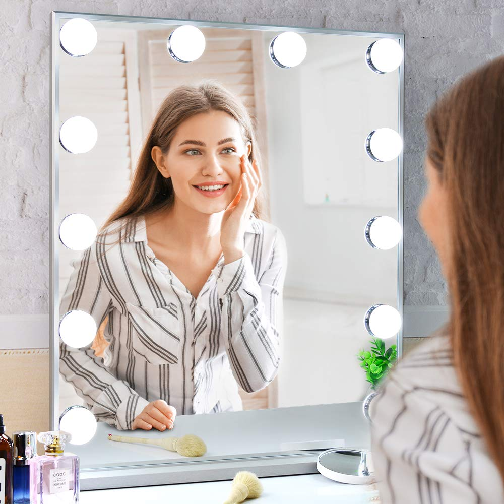 WONSTART Hollywood Makeup Vanity Mirror with Lights Kit, Lighted Makeup Dressing Table Vanity Set Mirrors with Dimmer, Tabletop or Wall Mounted Vanity, LED Bulbs Included by WONSTART (Image #11)