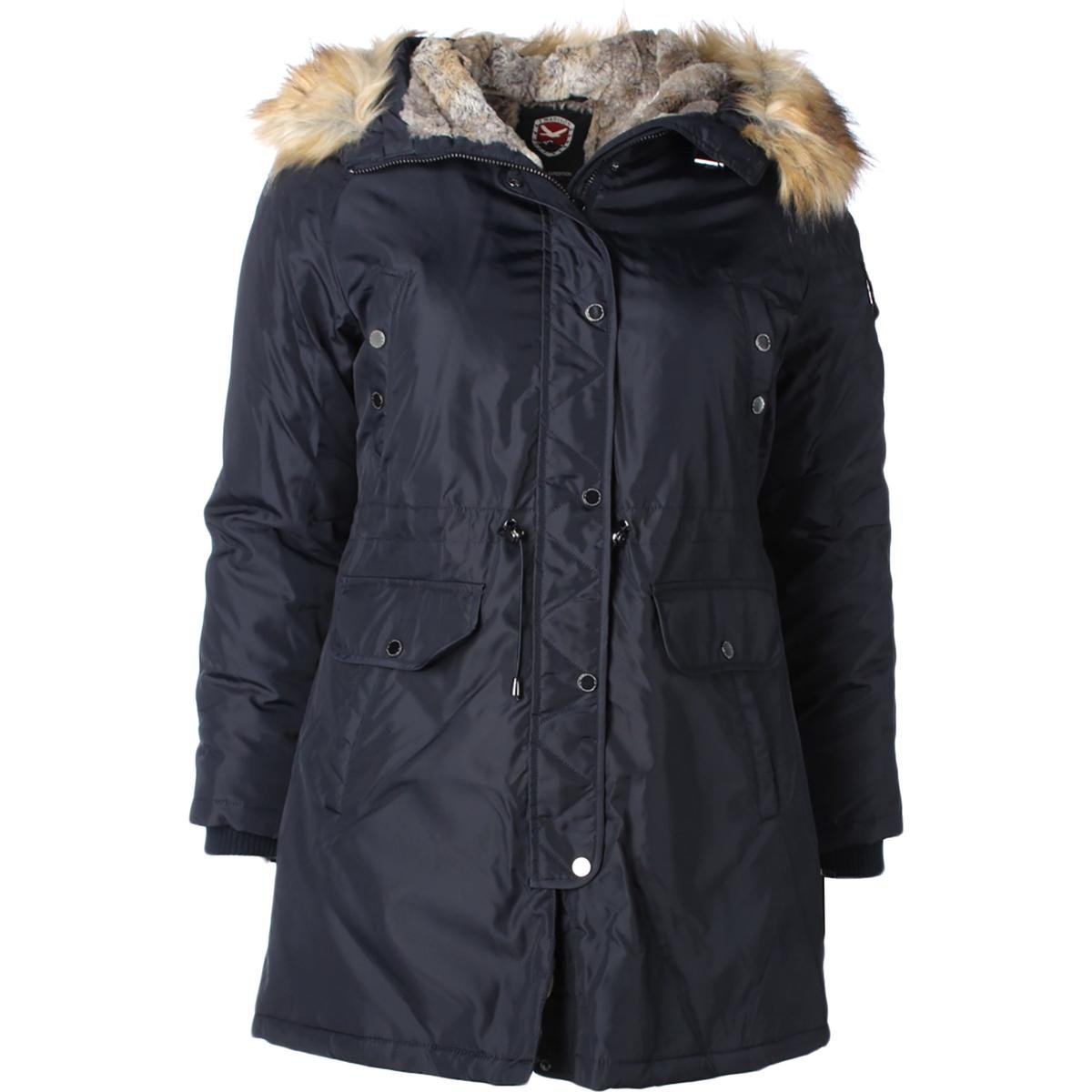 1 Madison Expedition Womens Faux Fur Lined Hooded Coat Navy XL