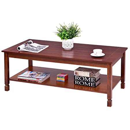 Giantex Wood Coffee Table Cocktail Table with Storage Shelf Solid Structure for Living Room Bedroom Dining Room Side End Table, Rectangular Walnut