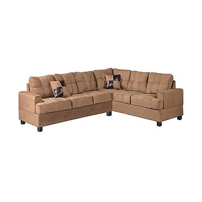 Poundex Bobkona Leo Microfabric 2-Piece Reversible Sectional Sofa, Saddle