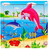 Digood 16Pcs Wooden Lovely Animals Pattern Puzzle Educational Developmental Baby Kids Training Toy Gift for Age 1-5 Years Old Boys Girls (A)