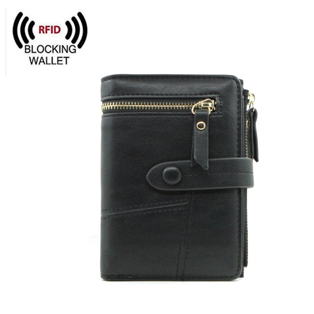 Women Small Wallet RFID Blocking Leather Bifold Card Holder Zipper Coin Purse (Black) by Remidoo (Image #1)