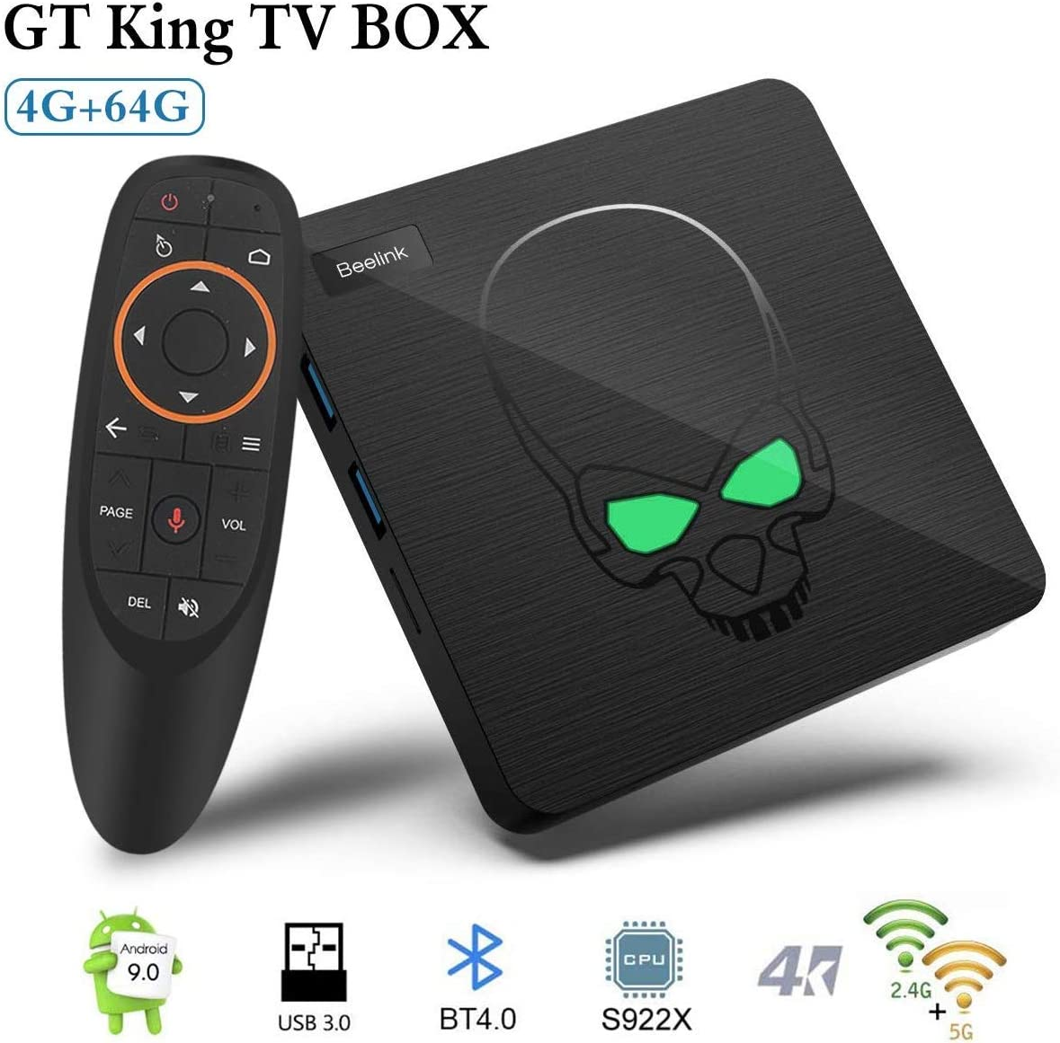 Android TV Box, 2020 TV Box Android 9.0 con 4GB RAM 64GB ROM S922X Hexa-core ARM Cortex-A73 Smart TV Box, soporta 4K Resolución 3D 2.4GHz/5.8GHz WiFi 1000M Ethernet USB 3.0 Reproductor Multimedia: