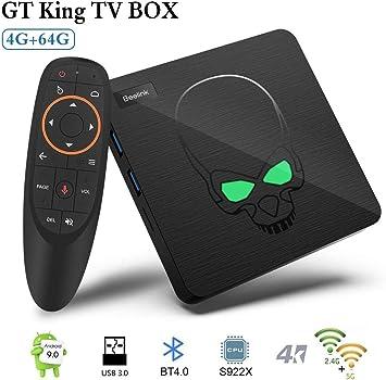 Android TV Box, 2020 TV Box Android 9.0 con 4GB RAM 64GB ROM S922X Hexa-core ARM Cortex-A73 Smart TV Box, soporta 4K Resolución 3D 2.4GHz/5.8GHz WiFi 1000M Ethernet USB 3.0 Reproductor Multimedia: