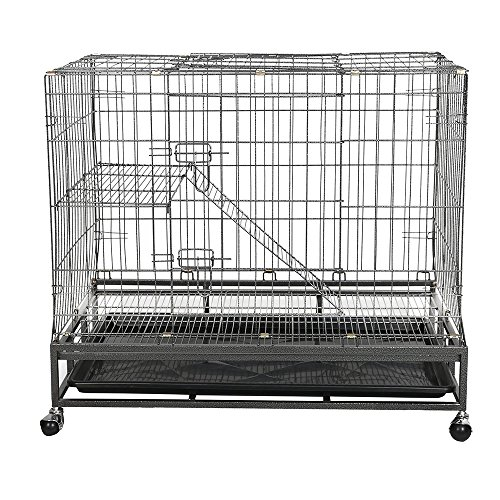 Livebest Folding 2-Tier Pets Wire Cage Playpen Heavy Duty Dog Cat House with Wheels & Climbing Ladders & Rest Benches by Livebest