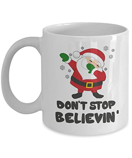 8dd9572d Image Unavailable. Image not available for. Color: Santa Mug Don't Stop  Believing ...