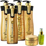 Keratin Cure 0% Formaldehyde Gold & Honey Bio-Brazilian Professional Hair Treatment 960 ml/32.5 - 120 ml sil - 1000 g Masque 6 piece kit