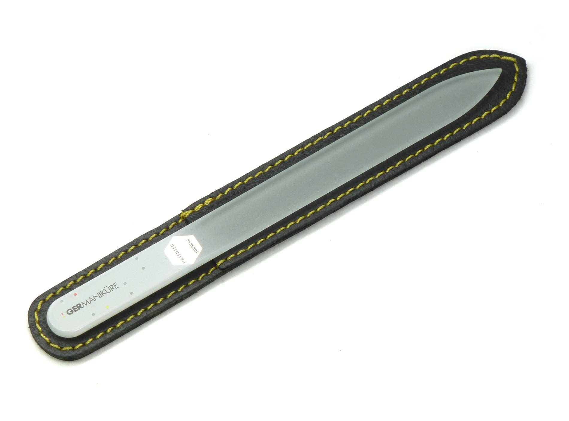 Double-sided crystal glass nail file in leather case, 3mm thick. Made by GERmanikure