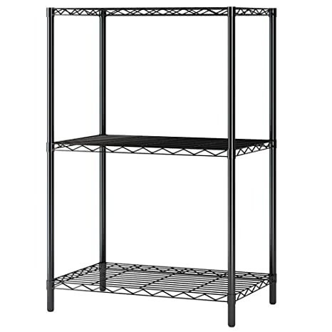 factory price 32e66 c1505 Home-Like 3-Tier Wire Shelving Metal Storage Rack Shelving Unit Storage  Shelf Pantry Food Shelf Plant Shelves in Black for Kitchen Living Room  Office ...