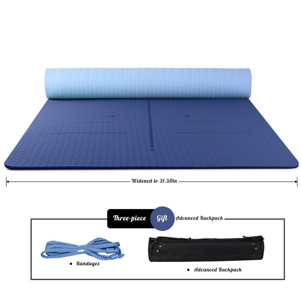 KLEDDP Geruchlose Rutschfeste Anfänger Dünne Abschnitt Fitness Erweitert Yoga-Matte Yogamatte (Farbe   Blau)