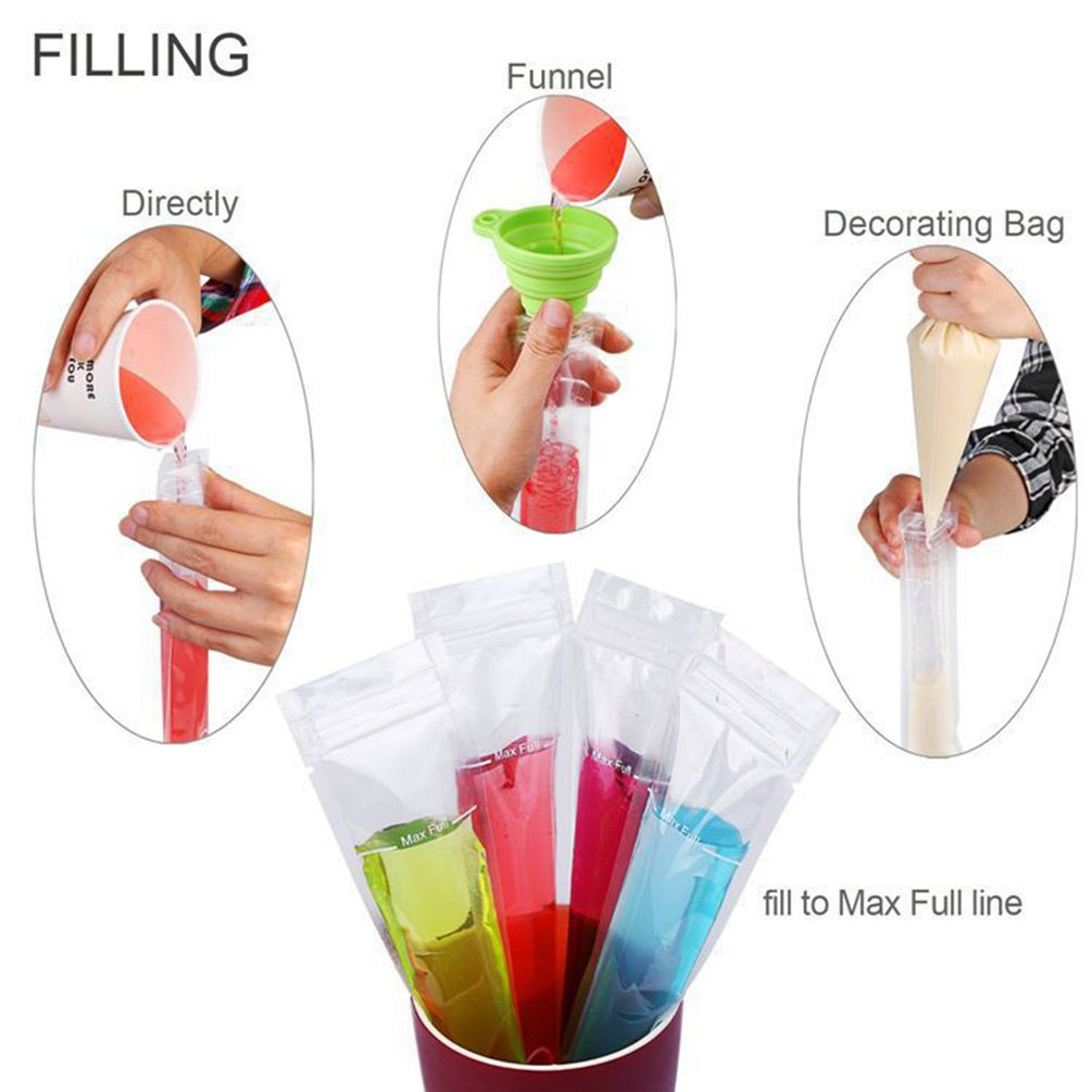 Popsicle Molds Bags Ice Popsicle Disposable DIY Zip Top Ice Pop Pouches 100 Pack